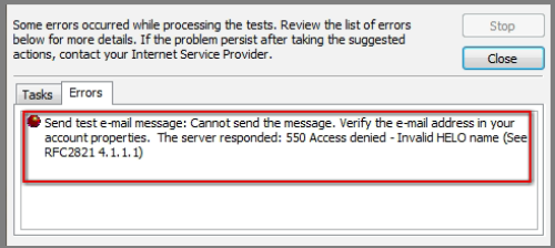 How to solve the error The Server Responded 550 Access Denied acirc