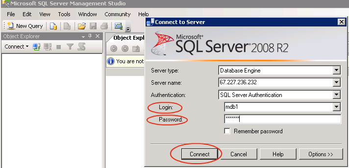 How to access the MSSQL database using Remote Database